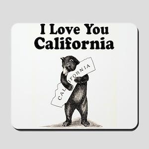Vintage I Love You California State Bear Mousepad