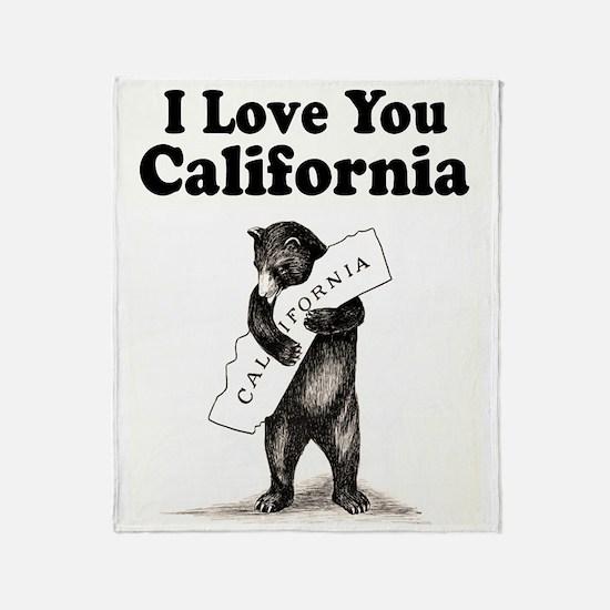Vintage I Love You California State Bear Throw Bla