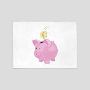 4. Save Penny Piggy Bank Money 5'x7'Area Rug