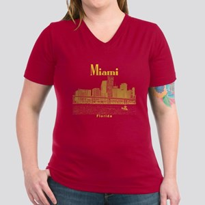 Miami Women's V-Neck Dark T-Shirt