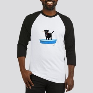 Black Labrador Retriever in kiddie pool Baseball J
