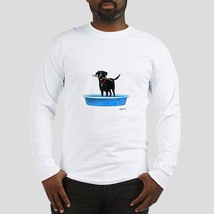 Black Labrador Retriever in kiddie pool Long Sleev