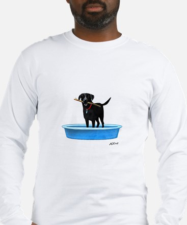 Black Labrador Retriever in kiddie pool Long Sleev