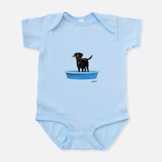 Black Labrador Retriever in kiddie pool Body Suit