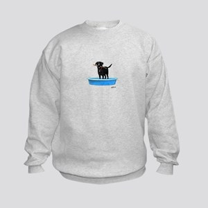 Black Labrador Retriever in kiddie pool Sweatshirt