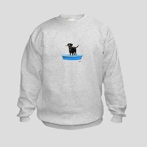 Black Labrador Retriever in kiddie pool Sweatshirt