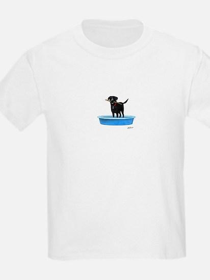 Black Labrador Retriever in kiddie pool T-Shirt