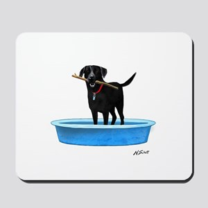 Black Labrador Retriever in kiddie pool Mousepad