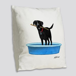 Black Labrador Retriever in kiddie pool Burlap Thr