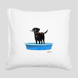 Black Labrador Retriever in kiddie pool Square Can