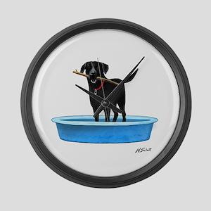 Black Labrador Retriever in kiddie pool Large Wall