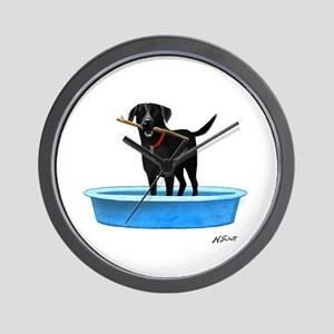 Black Labrador Retriever in kiddie pool Wall Clock