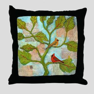 Cardinal Love Notes Throw Pillow