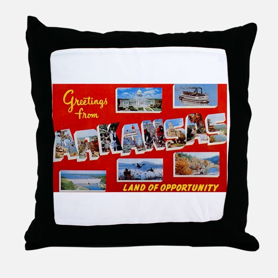 Arkansas Greetings Throw Pillow