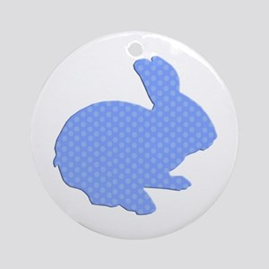 Blue Polka Dot Silhouette Easter Bunny Ornament (R