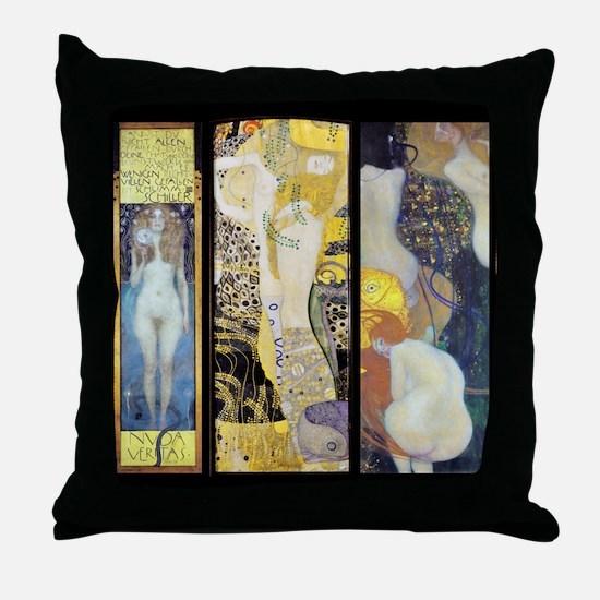 Gustav Klimt Tall Trio Throw Pillow