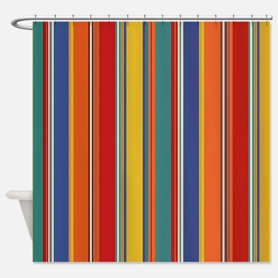 Warm Arcade Stripes Shower Curtain