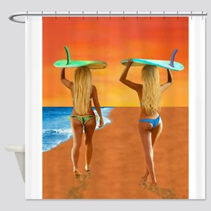 SURFER GIRLS Shower Curtain