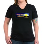 Siesta Beach At Sunset Women's V-Neck Dark T-Shirt