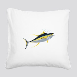 Yellowfin Tuna Fish Square Canvas Pillow