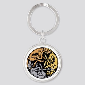 Celtic Chasing Hounds Round Keychain