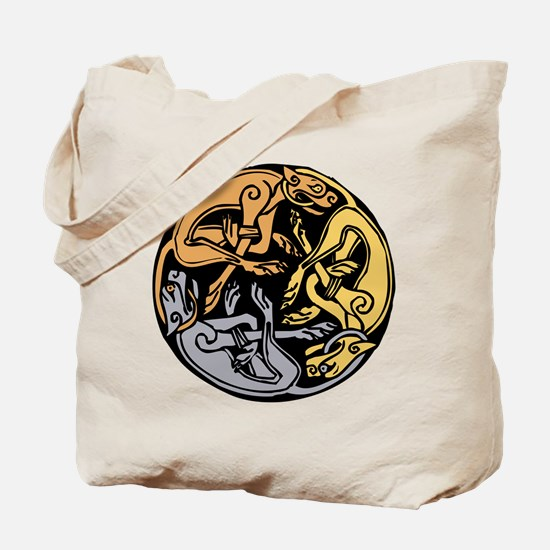 Celtic Chasing Hounds Tote Bag