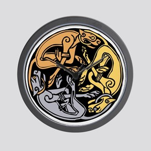 Celtic Chasing Hounds Wall Clock