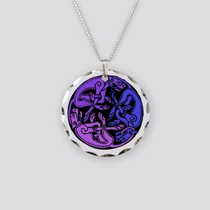 Celtic Chasing Hounds Necklace Circle Charm