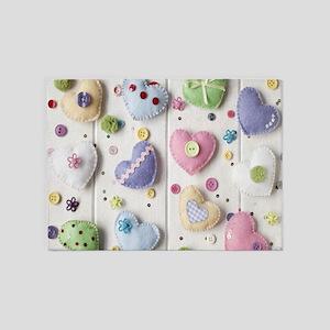 Lovely Hearts 5'x7'Area Rug