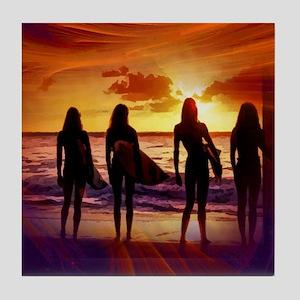 Sunset Beach Girls Tile Coaster