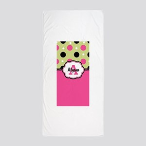 Pink Green Dots Personalized Beach Towel