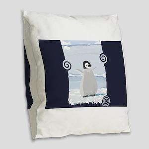 Penguin Kid Burlap Throw Pillow