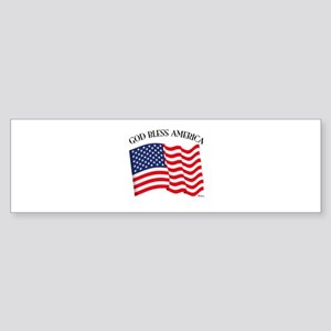 God Bless American With US Flag Sticker (Bumper)