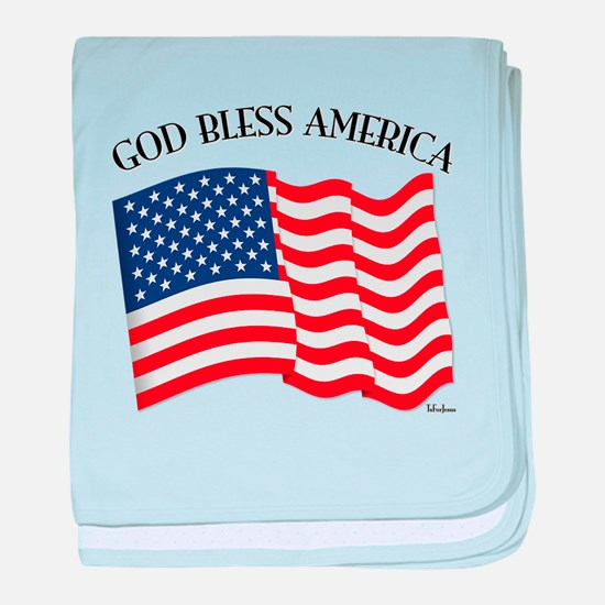 God Bless American With US Flag baby blanket