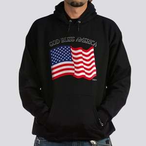 God Bless American With US Flag Hoodie (dark)