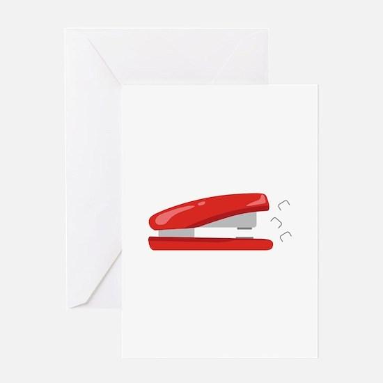Red Stapler Greeting Cards