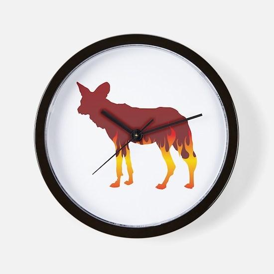 Wild Dog Flames Wall Clock