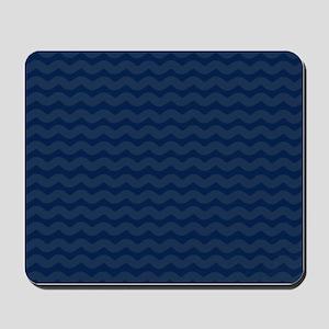 Navy Blue Wavy Lines Pattern Mousepad