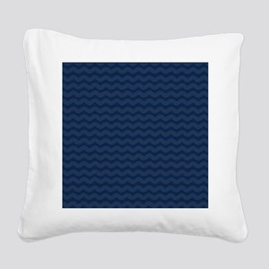 Navy Blue Wavy Lines Pattern Square Canvas Pillow