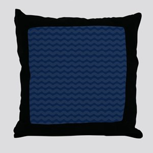 Navy Blue Wavy Lines Pattern Throw Pillow