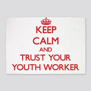 Keep Calm and trust your Youth Worker 5'x7'Area Ru