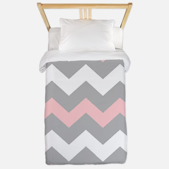 Pink And Gray Chevron Stripes Twin Duvet