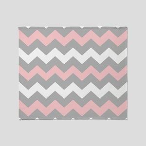 Pink And Gray Chevron Stripes Throw Blanket
