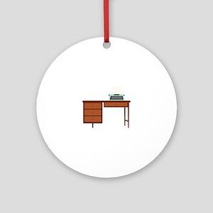 Vintage Desk and Typewriter Ornament (Round)