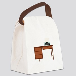 Vintage Desk and Typewriter Canvas Lunch Bag