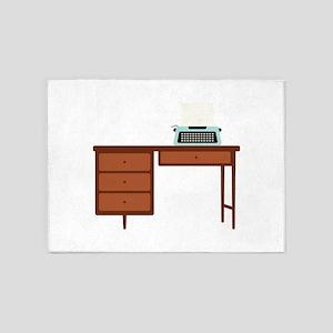 Vintage Desk and Typewriter 5'x7'Area Rug