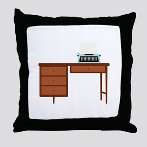 Vintage Desk and Typewriter Throw Pillow