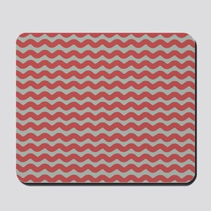 Red and Gray Wave Mousepad