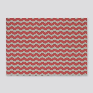 Red and Gray Wave 5'x7'Area Rug