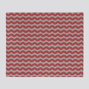 Red and Gray Wave Throw Blanket